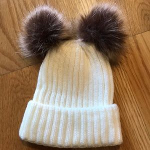 Other - Ivory ribbed knit hat-double 'fur' pompons, new